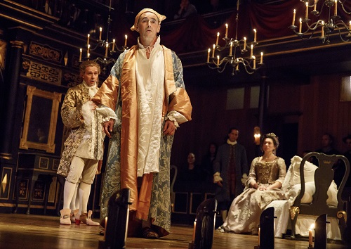 "Photo: Iestyn Davies, Mark Rylance, and Melody Grove in ""Farinelli and the King."" Credit: Joan Marcus."