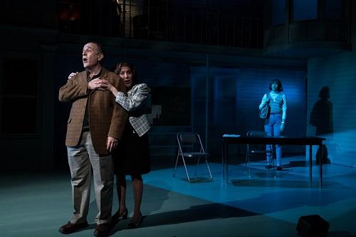 "Photo: Adam Heller, Cheryl Stern, and Julia Knitel in ""A Letter to Harvey Milk."" Credit: Russ Rowland."