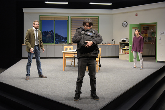 """(l to r) Jeremy Kahn (David), Daniel Chung (Dennis), and Jackie Chung (Gina) in Julia Cho's """"Office Hour,"""" directed by Lisa Peterson. A co-production with Long Wharf Theatre. Photo courtesy of Kevin Berne/Berkeley Repertory Theatre"""