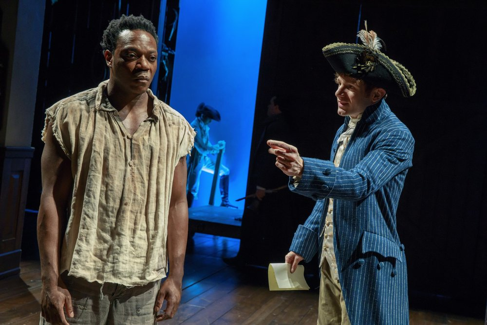"Photo: Chukwudi Iwuji and Chris Perfetti in ""The Low Road"" at the Public's Anspacher Theater. Credit: Joan Marcus."