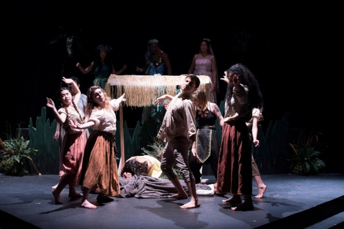 """The company of Once On This Island in """"Pray"""". Photo by Katie Powell"""