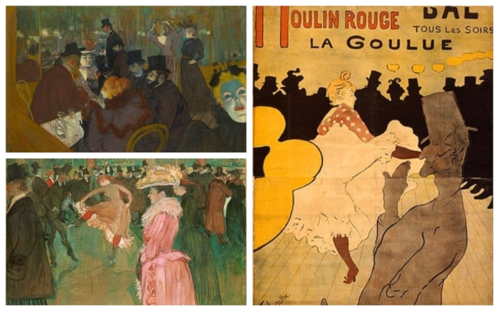 """Toulouse-Lautrec's """"At the Moulin Rouge"""", """"The Dance"""" and the poster """"Moulin Rouge: La Goulue"""""""