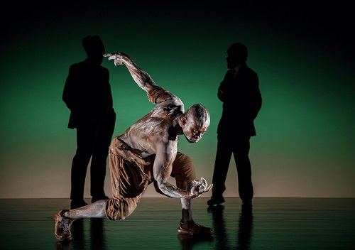 "Photo: Sahr Ngaujah (foreground) in ""Mlima's Tale."" Credit: Joan Marcus."