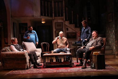 "Photo: Matthew Broderick, Michael Mellamphy, Andy Murray, Tim Ruddy, and Colin McPhillamy in ""The Seafarer."" Credit: Carol Rosegg."