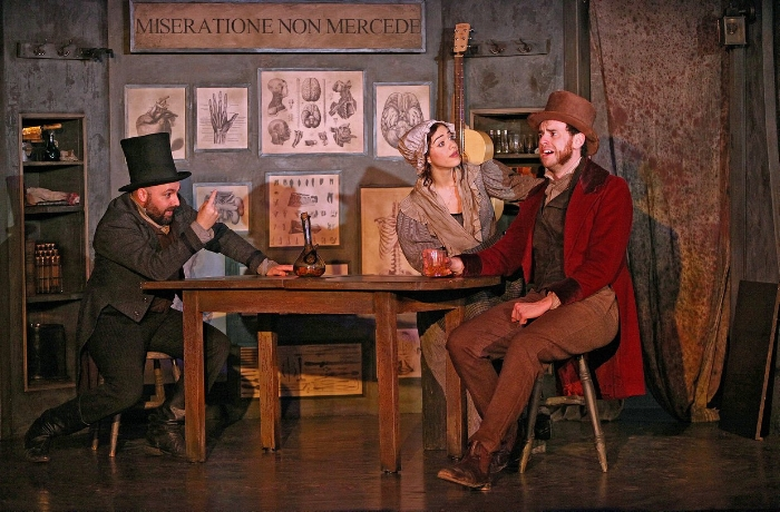 Burke and Hare. The Watermill Theatre. Alex Parry, Katy Daghorn and Hayden Wood. Photo by Philip Tull