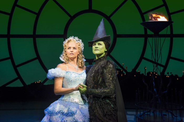 Helen Woolf as Glinda and Amy Ross as Elphaba in WICKED UK & Ireland Tour. Photo Credit Matt Crockett