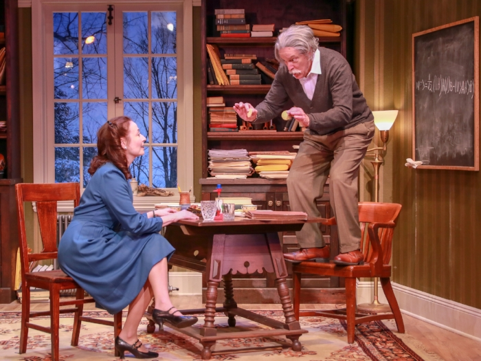 From left to right: Celeste Ciulla (Margaret Harding), Robert Zukerman (Albert Einstein) Photo credit: Chris Yacopino