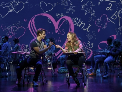 "Kyle Selig (Aaron Samuels) and Erika Henningsen (Cady Heron) in ""Mean Girls."" (Joan Marcus)"