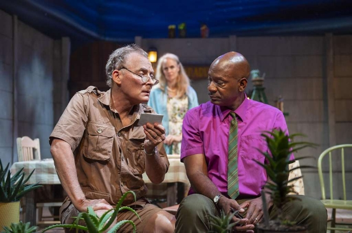 "From left: Piet (Victor Talmadge) and Gladys (Werndy vanden Heuvel) hear about the limitations endured by Steve (Adrian Roberts) in ""A Lesson From Aloes"" at Z Below. (Photo: David Allen)"