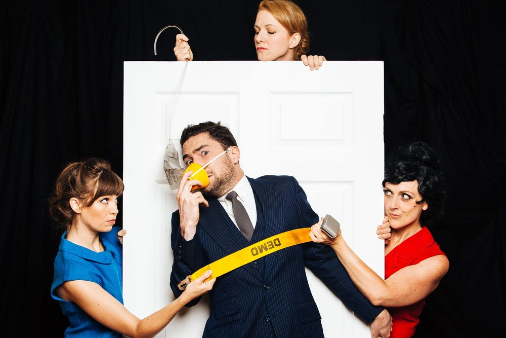 Photo Credit: (L to R) Rebecca Tucker, William Wilder, Suzanne Kimball, & Molly Parker Myers in Boeing Boeing. Photo by Matthew Lomanno.