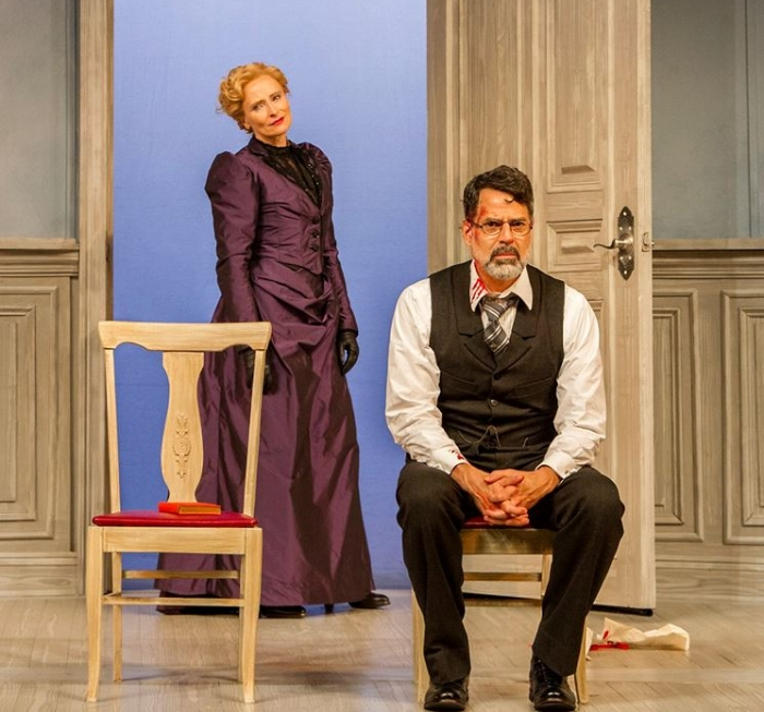 Photo Credit: Laila Robins & Christopher Innvar in A DOLL'S HOUSE, PART 2. Photo credit Daniel Rader Photo.
