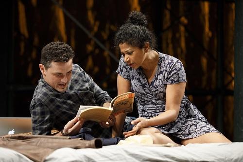 """Photo: Enver Gjokaj and Rebecca Naomi Jones in """"Fire in Dreamland."""" Credit: Joan Marcus."""