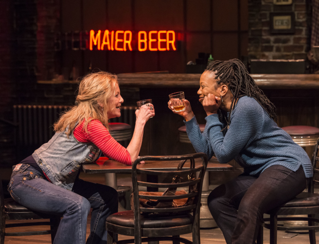 Mary Mara (Tracey) and Portia (Cynthia) in Lynn Nottage's  Sweat , directed by Lisa Peterson, at the Mark Taper Forum. (© Craig Schwartz)