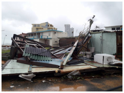 Damage from Hurricane Maria sustained to a home belonging to a family member of the author in Luquillo, PR. Photo Credit: El Nuevo Dia