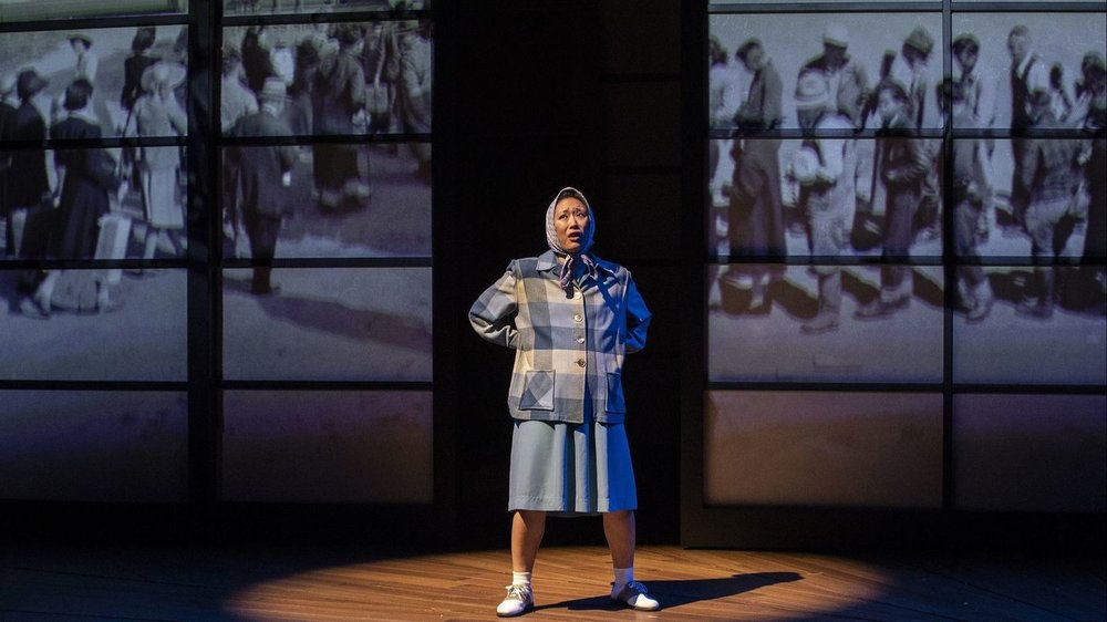 Melanie Arii Mah as Thelma Yamaguchi in a scene from Luis Valdez' 'Valley of the Heart' at the Mark Taper Forum. (Brian van der Brug / Los Angeles Times)