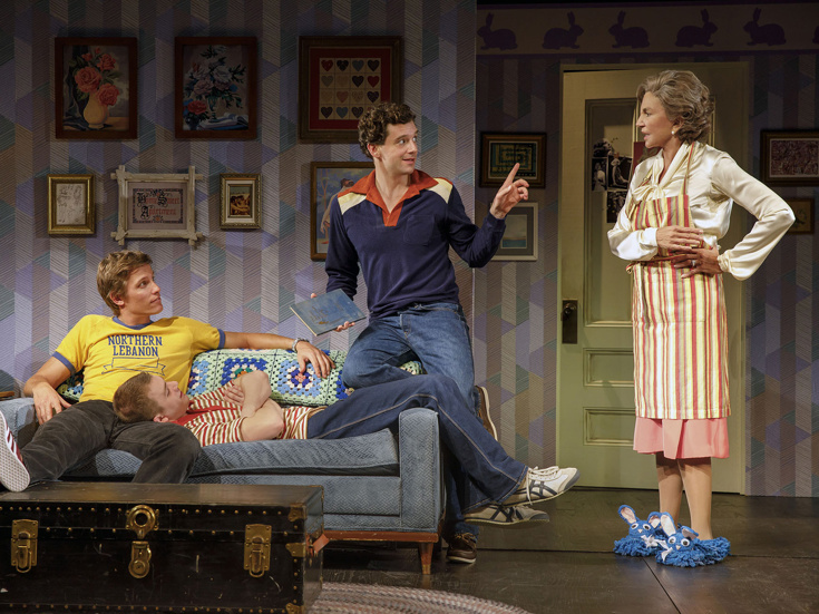 "Ward Horton, Jack DiFalco, Michael Urie & Mercedes Ruehl in ""Torch Song"" off-Broadway (Photo: Joan Marcus)"