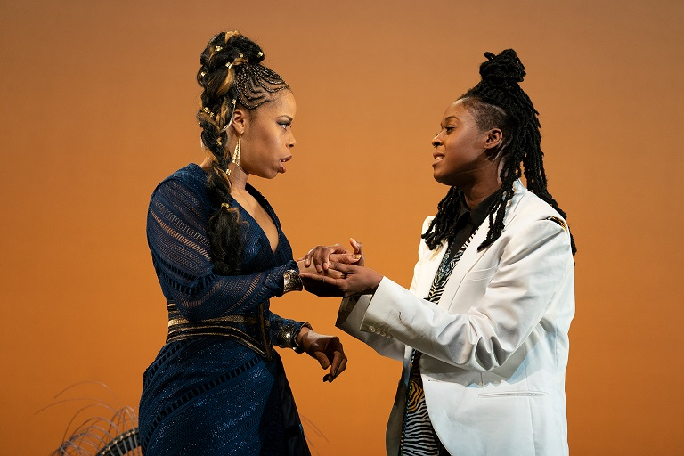 Tiffany Denise Hobbs and Moses Ingram in Twelfth Night by William Shakespeare, directed by Carl Cofield, Yale Repertory Theatre, 2019. Photo by Joan Marcus.