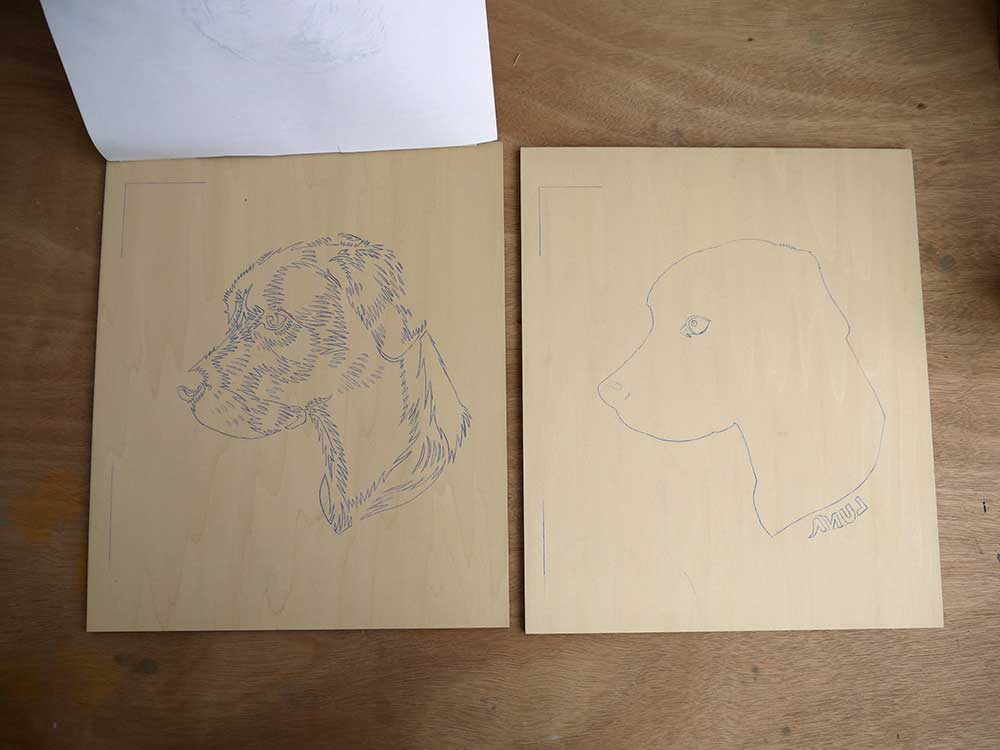 The ply wood blocks with my image transferred