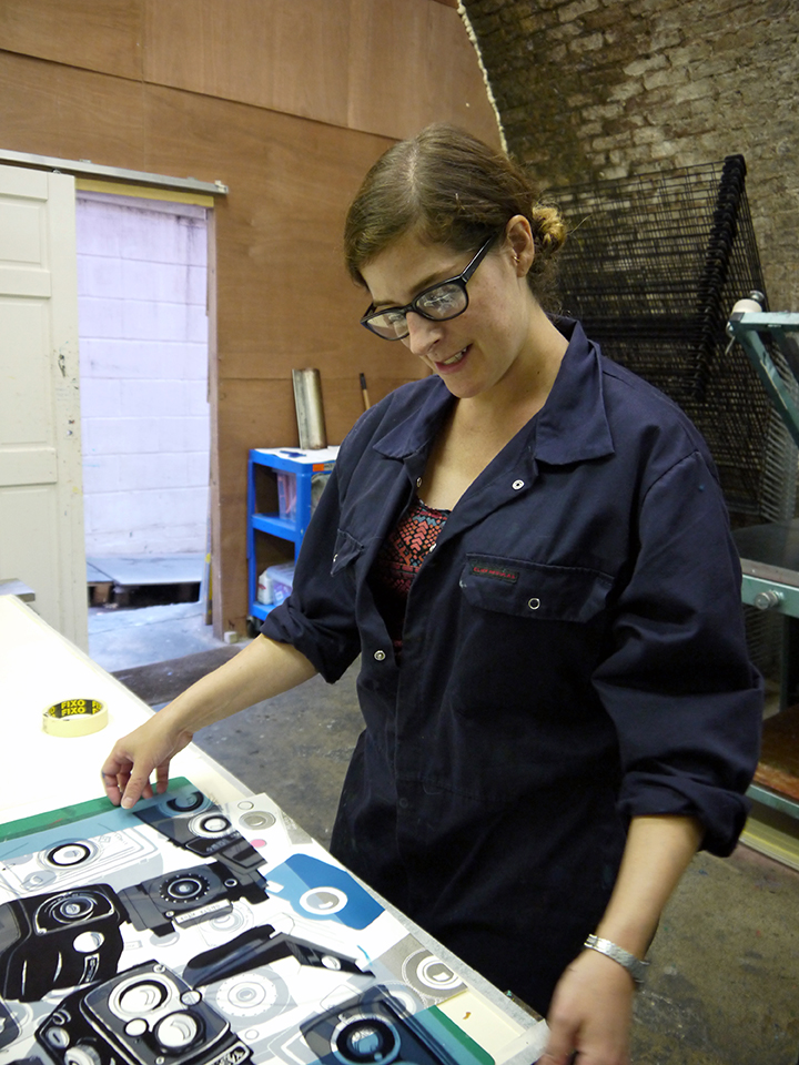 Kaylene preparing to print Cameras at the Peckham Print Studio