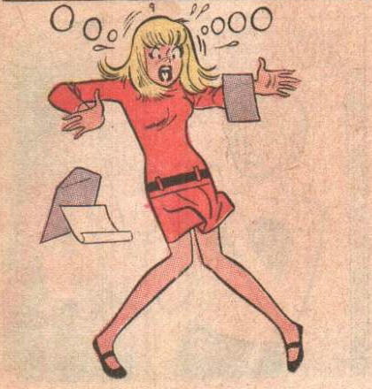 Tippy Teen, as drawn by the great Harry Lucey, finds a problem in the coding protocols...