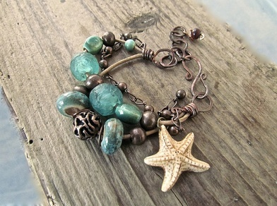 Handmade Bohemian Jewelry, handmade boho jewelry, rio jewelry studio pop-up shop,handmade starfish bracelet, one of a kind jewelry, beach chic jewelry, boho chic jewelry, handmade rustic jewelry