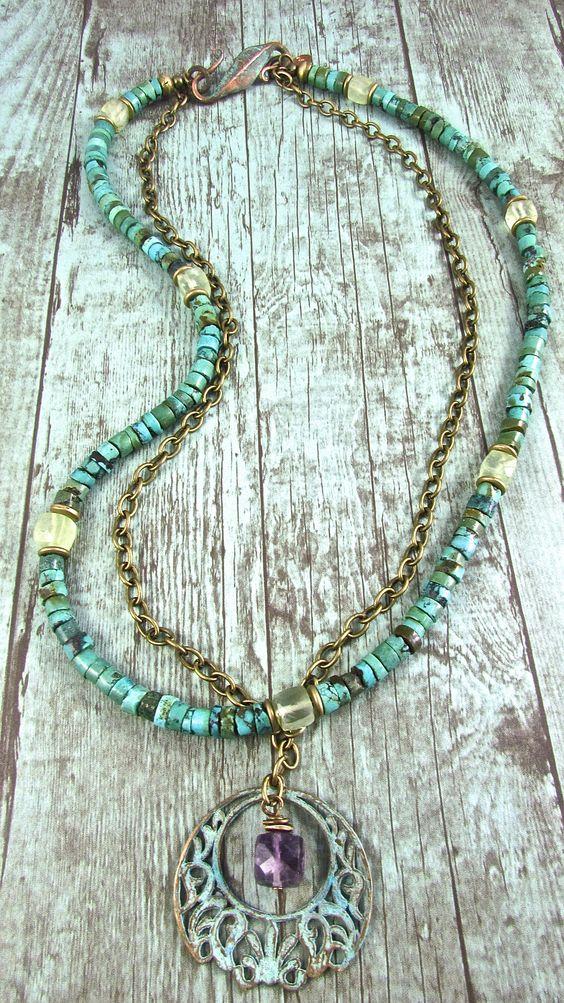 Boho Turquoise Pendant Necklace