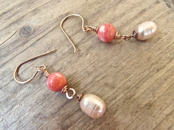 Handmade Coral Earrings, Handmade Boho Jewelry
