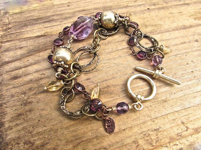 amethyst bracelet, handmade bohostyle jewelry
