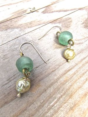 Glass and Baroque Pearl Earrings