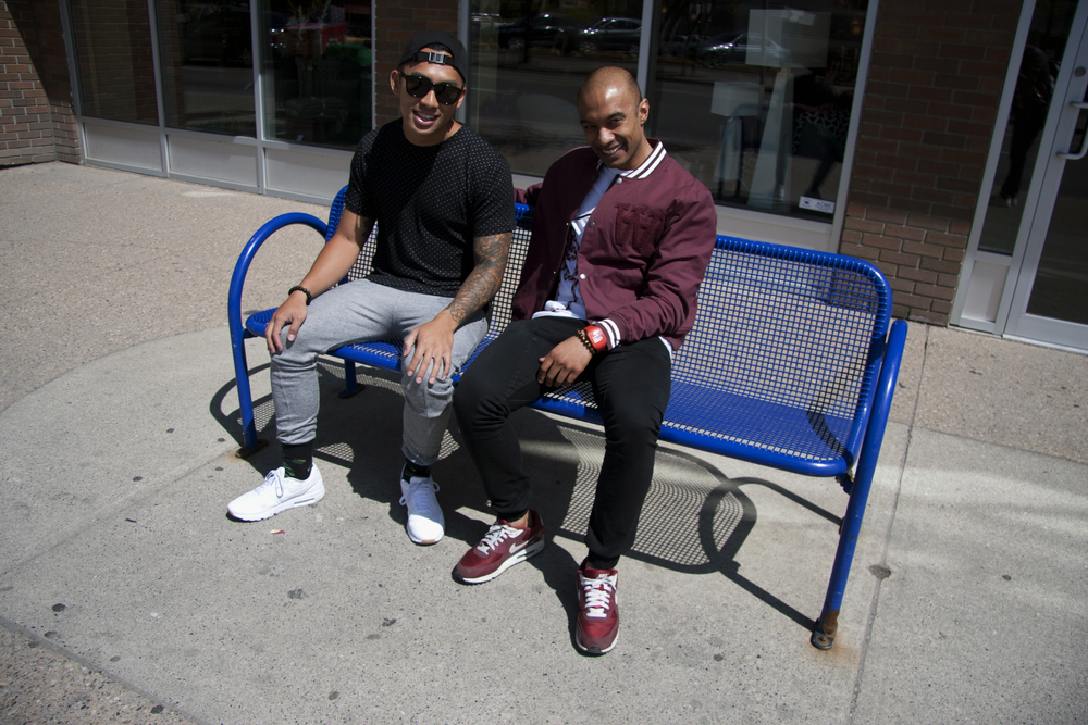 Andy and Sunjeev (of Street Gentlemen) hanging out on 4th Street