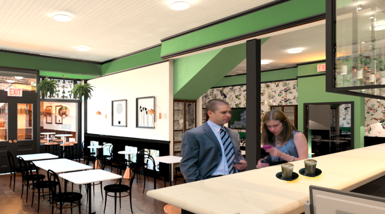 Lock + Key Cafe - perspective rendering
