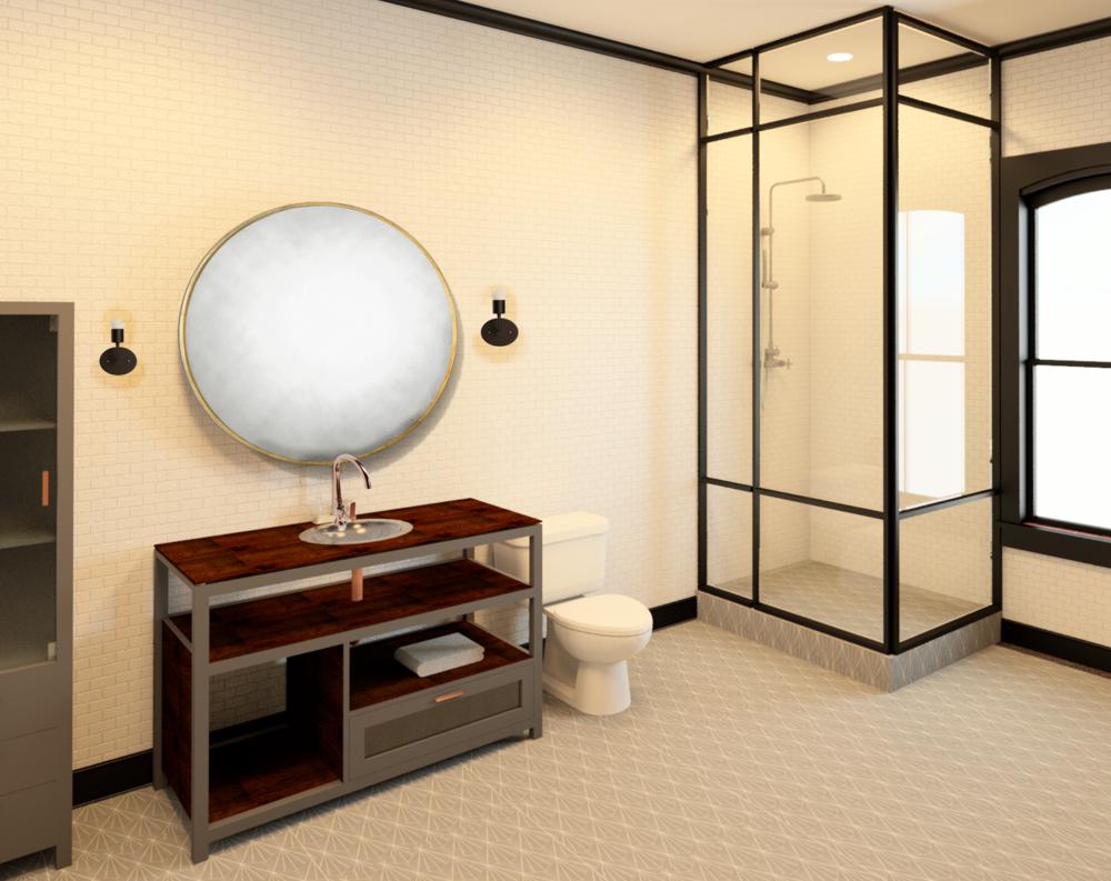 112 W. Lewis - residential unit bathroom rendering