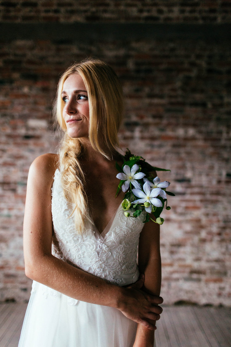 Moss + Mica - bridal shot with florals