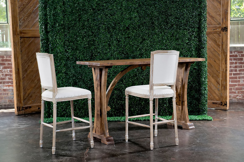 Walnut Gothic Communal Hi-boy Table with Beverly Barstools