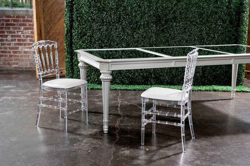 Silver Regency Dining Table with Crystal Napoleon Dining Chairs