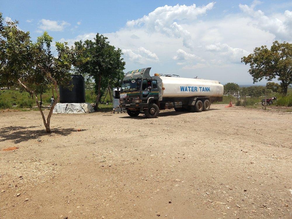 Water truck arriving