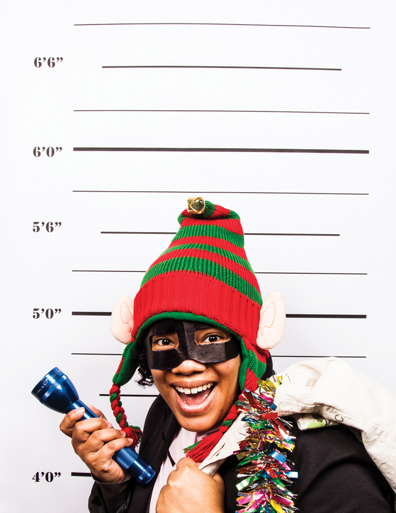 "Shemiki Petties ""I was at the 267th Annual Elf Bandit Masquerade Party when the lights blew out… hence the flashlight."""