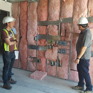 Project Manager, Cele Arceo, discussing Isolation Room design.