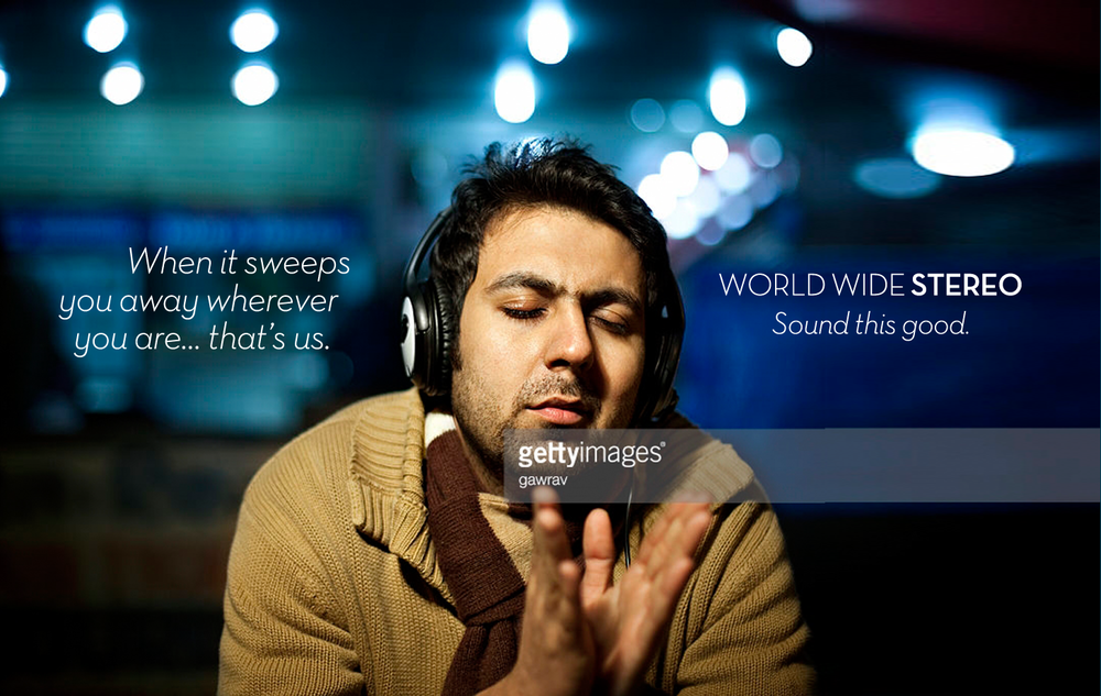 """I think this headline is thought-provoking, and our actor/model captures """"getting swept away""""perfectly. (I feel this guy.) Also, the tag pays off the headline: it takes  sound this good  to get swept away in your music."""