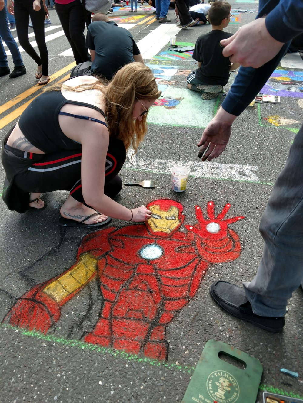 Iron Man Chalk Art