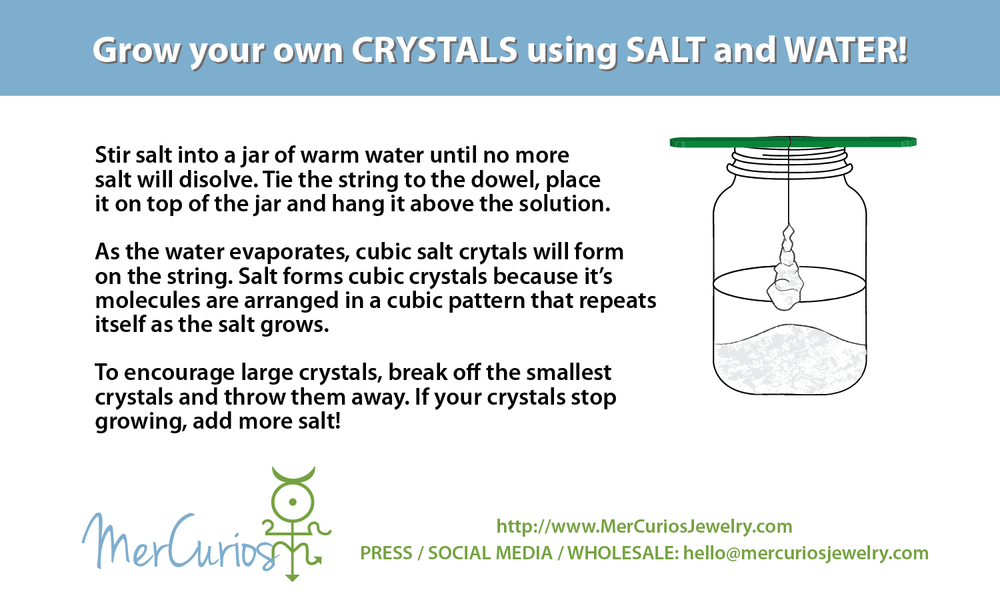 Grow your own crystals using salt and water