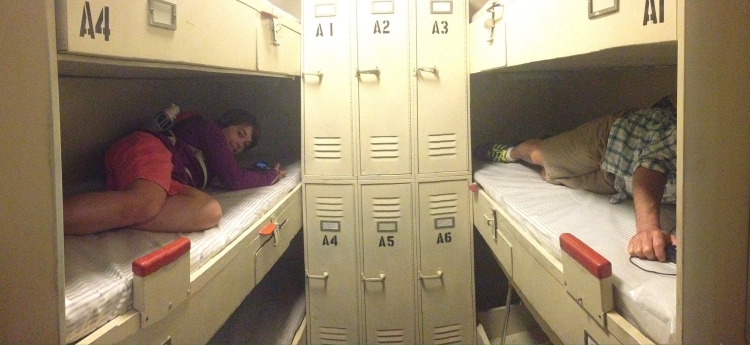 Sleeping quarters. Three bunk levels.