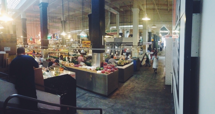 Pano from the corner of the market. Mole by the pound just to the left.