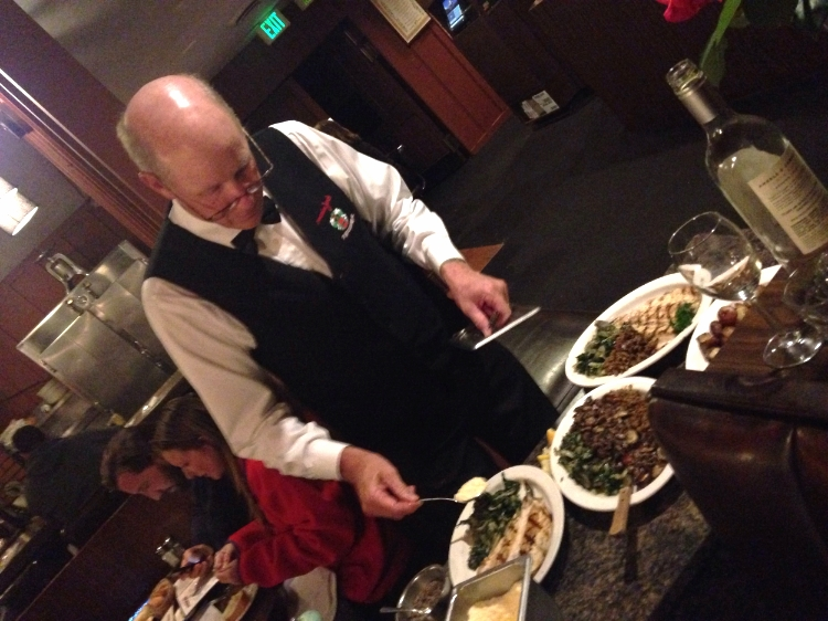 Our waiter making the special chard