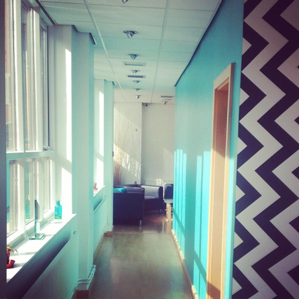 This is one of the first images taken of ZigZag's freshly painted illuminously bright teal walls.
