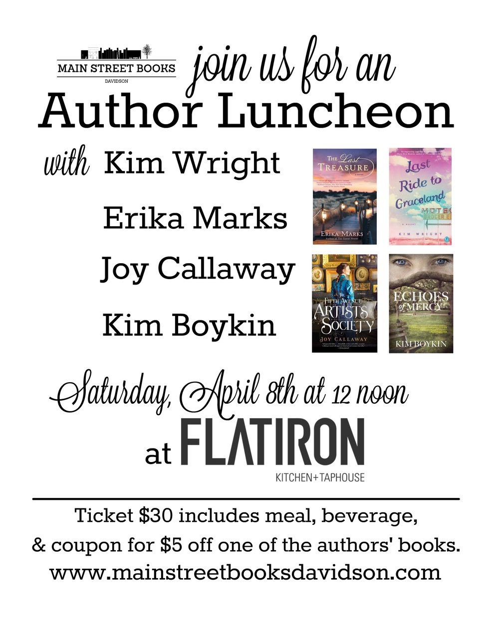 Carolina Author Luncheon at Flatiron — Main Street Books | Davidson