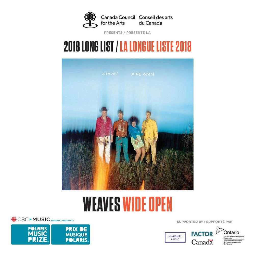 Congrats to Weaves and all the long list nominees!   https://polarismusicprize.ca/2018-long-list/