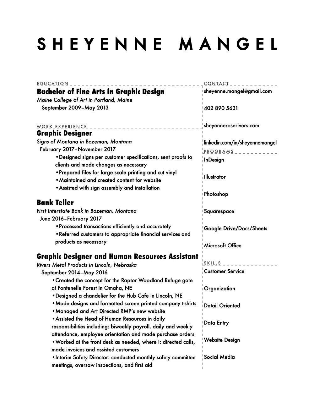 resume Sheyenne Mangel