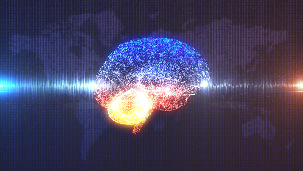 Brain wave - profile view of CGI rendered brain with electrical current running through it in front of digital map of the Earth