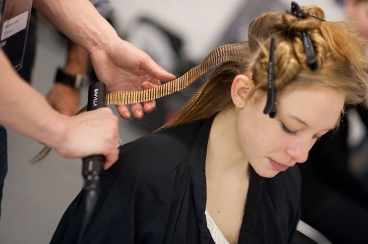 Sam Villa Texture Iron being used on under lengths of hair